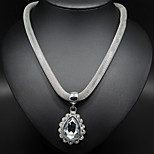 Water Shape Rhinestone Silver Chain Necklace