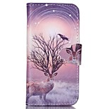 Finger Buckle Deer Painted PU Phone Case for iphone5/5S