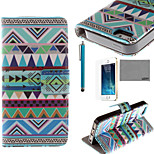 LEXY® Triangle Tribal Pattern PU Full Body Leather Case with Screen Protector and Stylus for iPhone 5/5S