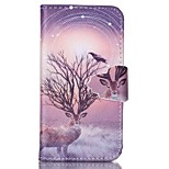 Finger Buckle Deer Painted PU Phone Case for iphone4/4S