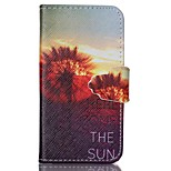 Finger Buckle Sunset Dandelion Painted PU Phone Case for iphone4/4S