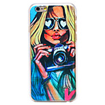 Sexy Girl Camera Pattern Transparent PC Back Cover for iPhone 6