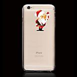 Cartoon Santa Claus Pattern Ultrathin Transparent TPU Soft Back Cover Case for iPhone 6S/6 Plus
