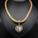 Crystal Heart Pendant Golden Chain Necklace