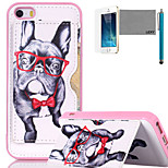 LEXY® Glasses Dog Pattern Soft TPU Back Case with Screen Protector and Stylus for iPhone 5/5S