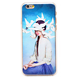Pigeons Girl Pattern Transparent PC Back Cover for iPhone 6