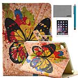 lexy® modello di farfalla splash-ink pu caso del basamento del cuoio di vibrazione con la protezione dello schermo e lo stilo per ipad