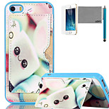 LEXY® Smiling Candy Pattern Soft TPU Back Case with Screen Protector and Stylus for iPhone 5/5S