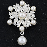 Women's Fashion All Match Flower Shape Silver Alloy Rhinestone Brooches