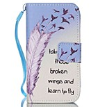 Feather Painted PU Phone Case for iphone4/4S