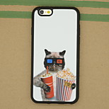 The Cat Holding Popcorn Pattern Sparkle TPU Soft Back Cover Case for iPhone 6/6S