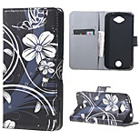 White Flowers Wallet Leather Stand Case cover for Acer Liquid Z530