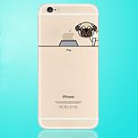 chien mange le logo de pomme motif transparent TPU étui souple pour iPhone 6