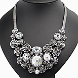 Vintage Rose Flower Alloy Statement Necklace