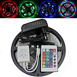 Waterproof 5M 300X3528 SMD RGB LED Strip Light and 24Key Remote Controller and 3A EU US UK AU Power Supply (AC110-240V)