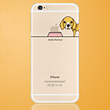 Dog Eat Apple Logo Pattern Transparent TPU Soft Case for iPhone 6