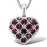 Sterling Silver Platinum-Plated with Created Ruby Classic Heart Shape Women's Pendant with Silver Box Chain