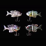 4pcs/lot Hot 2.2'' 5 Grams Panfish Swimbait 3D Eyes Multi-jointed Fishing Lures New Baitfish