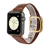 Modern Buckle Genuine Leather Watch Band Strap Bracelet Wrist Band With Adapter Clasp Replacement for Apple iWahtch 38MM