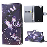 Blue Butterfly Card Holder Leather Stand Case for Wiko Rainbow Jam