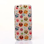 Owl Pattern TPU Transparent Painted Back Case For iPhone6/6s
