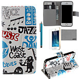 LEXY® Music Boy  Pattern PU Full Body Leather Case with Screen Protector and Stylus for iPhone 5/5S