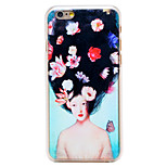 Flower Blooming Hair Girl Pattern Transparent PC Back Cover for iPhone 6 Plus