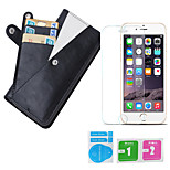 Protective TPU + PC Leather Phone Case w/ Card + Tempered Glass Film for IPHONE 6 / 6S 4.7