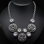 Vintage Rose  Flower Circle Alloy Statement Necklace