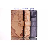 Map Pattern High-quality PU Leather Case with Kickstand and Card Slots for Iphone6S Plus