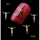 10pcs Golden Human Shape Nail Metallic Decoration 3D Metal Alloy Nail Art Decoration  eauty For Nails 8*9mm