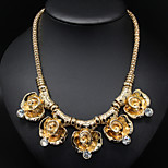 Golden Rose Flower Pendant Statement Necklace