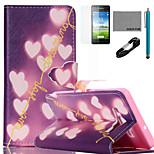 coco Fun® glänzende Herz-Muster PU-Lederetui mit V8-USB-Kabel, FLIM und Stylus für Samsung-Galaxie a5