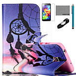 COCO FUN® Sunset Wind-Bell Pattern PU Leather Case with V8 USB Cable, Flim, Stylus and Stand for Samsung Galaxy S5 I9600