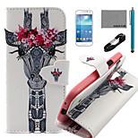 padrão de cílios girafa estojo de couro pu Coco fun® com v8 usb cabo, flim e stylus para Samsung Galaxy S4 mini-i9190