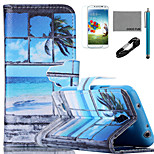 COCO FUN® Seascape in Window Pattern PU Leather Case with V8 USB Cable, Flim and Stylus for Samsung Galaxy S4 MINI i9190