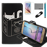 COCO FUN® Reading Cat Pattern PU Leather Case with V8 USB Cable, Film and Stylus for Samsung Galaxy S6