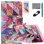 COCO FUN® Flower Checks Pattern PU Leather Case with V8 USB Cable, Flim, Stylus and Stand for Samsung Galaxy S6 edge