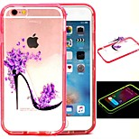 2-in-1 Purple Flower High Heels Pattern TPU Back Cover with PC Bumper Shockproof Soft Case for iPhone 6/6S