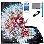 padrão de dente de leão do arco-íris caso de coco fun® pu couro com cabo usb v8, e stylus para Samsung Galaxy S4 mini-i9190