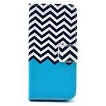 Blue Wave Pattern PU Leather Stand Case Cover with Card Slot for iPhone 5/5S