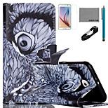 motif noctambule l'étui en cuir PU de coco avec le câble usb v8, le film et le stylet pour Samsung Galaxy S6