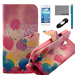 COCO FUN® Colorful Balloon Pattern PU Leather Case with V8 USB Cable, Flim and Stylus for Samsung Galaxy S4 MINI i9190
