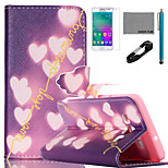 COCO FUN® Shiny Heart Pattern PU Leather Case with V8 USB Cable, Flim and Stylus for Samsung Galaxy A3