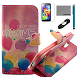 COCO FUN® Colorful Balloon Pattern PU Leather Case with V8 USB Cable, Flim, Stylus and Stand for Samsung Galaxy S5 I9600