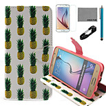 COCO FUN® White Pineapple Pattern PU Leather Case with V8 USB Cable, Film and Stylus for Samsung Galaxy S6