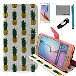coco Fun® weißen Ananas-Muster PU-Lederetui mit V8-USB-Kabel, Film und Stylus für Samsung-Galaxie s6