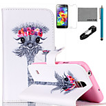 COCO FUN® Garland Giraffe Pattern PU Leather Case with V8 USB Cable, Flim and Stylus for Samsung Galaxy S5 MINI