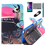 coco Fun® Antilopen-Bus-Muster PU-Lederetui mit V8-USB-Kabel, FLIM und Stylus für Samsung Galaxy Note 4