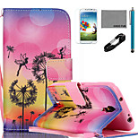 coco Fun® Löwenzahn Fee Muster PU-Lederetui mit V8-USB-Kabel, flim, Stift und stehen für Samsung Galaxy S4 i9500